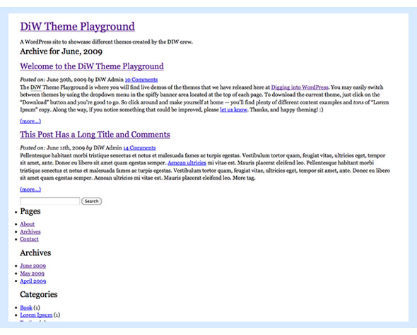 Screenshot of the BLANK theme for WordPress