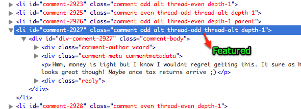 Screenshot of source code for default comment classes