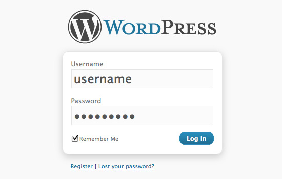 Screenshot: Default WordPress Login/Register Page