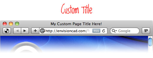 Custom Page Title displayed in a browser
