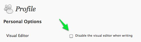 Visual Editor option on User Profile screen