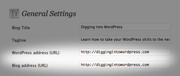 Screenshot of General Settings for WordPress and Site URLs