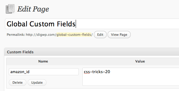 Screenshot of Global Custom Fields Page