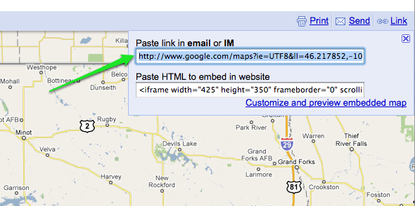 Google Maps field containing the src URL