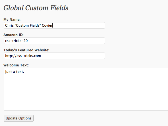 Screenshot of 'Global Custom Fields' settings page