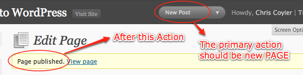 Publish New Post action button