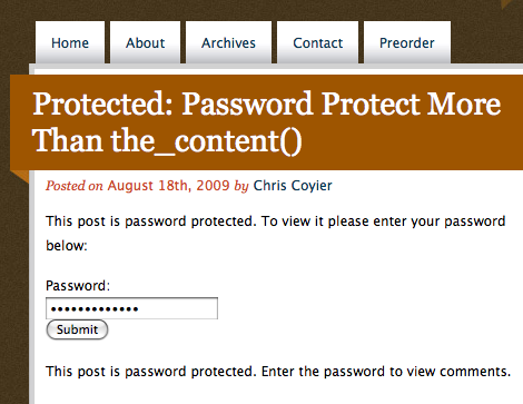 Screenshot of a password-protected post