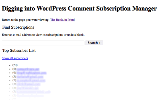 Comments subscription manager