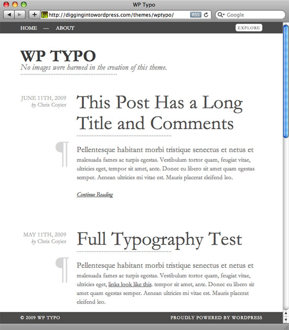 Screenshot of WP Typo theme (1 of 3)