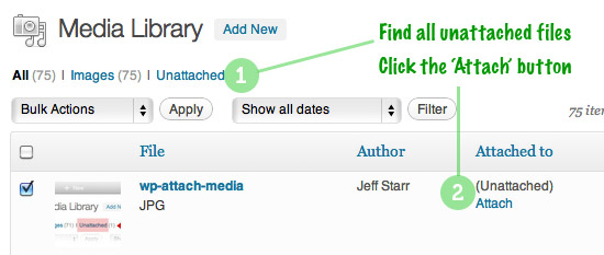Attach Unattached Media Files - Step 1: Find unattached media files