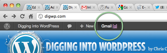 Screenshot: Gmail shortcut with accesskey displayed in the WP Toolbar