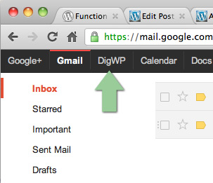 Screenshot: Google Toolbar with custom-link to DigWP.com