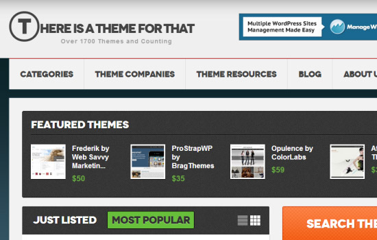 Screenshot: There is a theme for that (website homepage)
