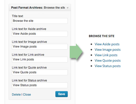 Post Format Archives Widget