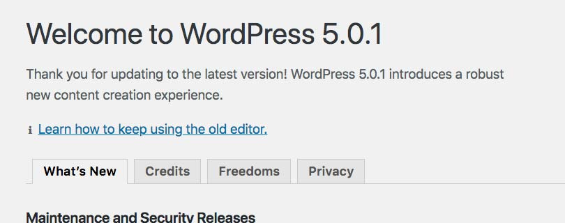 WordPress 5.0 Welcome Screen