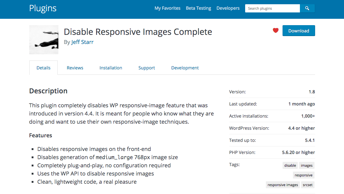 Disable Responsive Images Complete