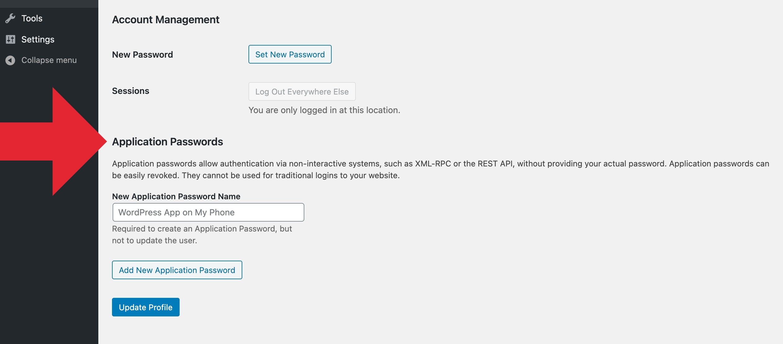 Application Passwords Settings