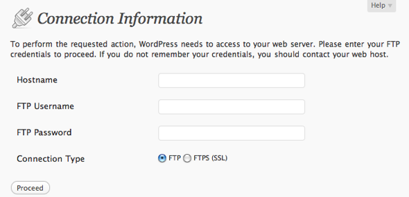 Screenshot of WordPress Connection Information settings